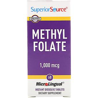 Superior Source, Methyl Folate, 1,000 mcg, 60 Tablets