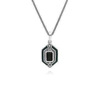 Art Deco Style Octagon Onyx, Marcasite & Enamel Hexagon Pendant Necklace in 925 Sterling Silver 214P303401925