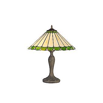 Luminosa Beleuchtung - 2 Licht gebogen Tischleuchte E27 mit 40cm Tiffany Schatten, grün, Kristall, Alter antik Messing