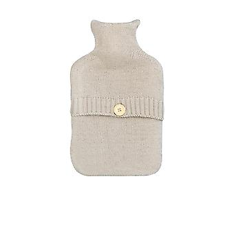 Full Size Hot Water Bottle With Knitted Cover - Button Design