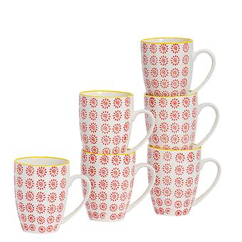 Nicola Spring 6 Piece Hand-Printed Tea and Coffee Mug Set - Japanese Style Porcelain Latte Mugs - Red - 360ml