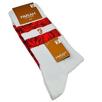 Farah White & Red Patterned Men's Socks