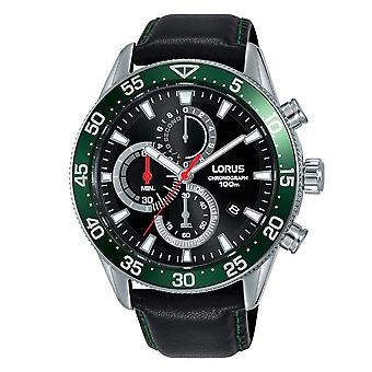 Lorus Mens Chronograph Dress Watch with Black Leather Strap (Model No. RM347FX9)