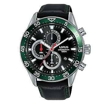Lorus Męski chronograf Dress Watch z czarnym skórzanym paskiem (nr modelu RM347FX9)