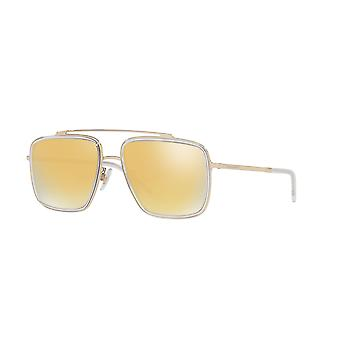 Dolce&Gabbana DG2220 488/7P Pale Gold-Crystal/Brown Mirror Gold Sunglasses