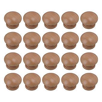 20Pcs Wooden Cabinet Handle  Mushroom Head Closet Knobs 3.4x2.5cm