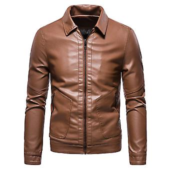 YANGFAN Men's Lapel Solid Color Leather Jacket Slim Zipper Outwear