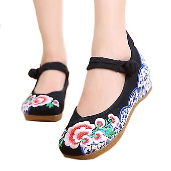 Old Beijing Cloth Shoes Thick Sole National Style Embroidered Woman Shoes