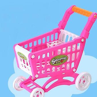 Ostoskärry Supermarket Trolley, Push Car Basket, Mini Hedelmäruoka Teeskentele lelu