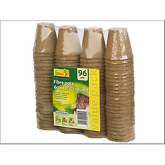 Gardman Round Fibre Pots 6cm x 96 - Value Pack 08325