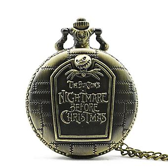 DEFFRUN Rétro Nightmare Before Christmas Tomb Pattern Chain Quartz Pocket Watch