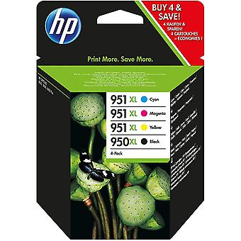 2 Packs hp c2p43ae 950xl black ink, / 951xl cyan magenta yellow ink (cmyk) 2 combo packs and fibertique cleaning cloth