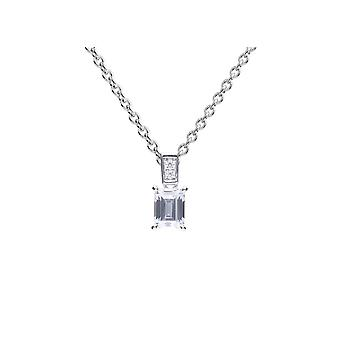 Diamonfire 925 Sterling Silver Emerald Cut Cubic Zirconia Pendant Necklace of Length 41-46cm