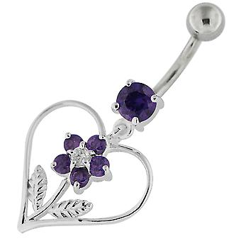 Purple Crystal Stone Fancy Studded Flower in Heart Dangling Sterling Silver Belly Bars Piercing