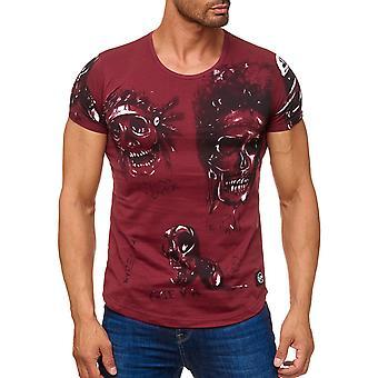 T-shirt à manches courtes Biker Allover crânes hommes indien crâne tête d'impression