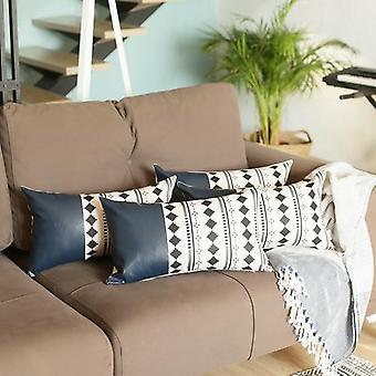 Decorative Vegan Leather Lumbar Throw Pillow Cover  (set Of 4)