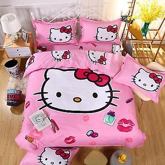 Hello Kitty Bumbac Set de lenjerie de pat - Include husă de plapumă, cearșaf de pat și față de pernă