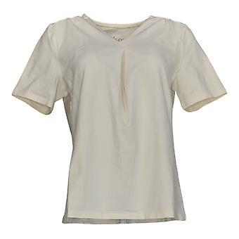 Denim & Co. Women's Top Short Sleeve Pleated V Neck White A378204