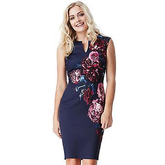 Navy floral print midi dress