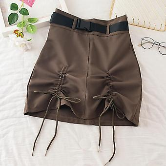 サファリスタイルドローストリング女性スカート夏の新しいハイソリッドスリムセクシーミニ