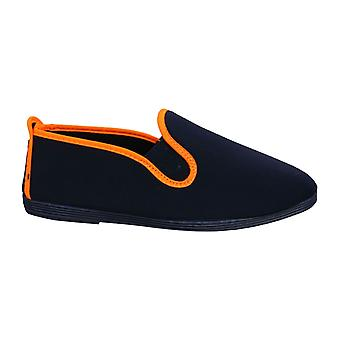 Flossy Style Novelda Unisex Espadrille Slip Op Plimsolls Schoenen 55301 Navy Orange