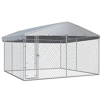 Outdoor dog kennel with canopy 3.8×3.8x2.4 m