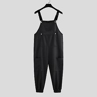 Men Bib Pants Solid Color, Joggers Pockets Streetwear, Suspenders Jumpsuit,