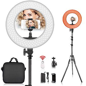 Fositan 14-inch ring light kit, 42w 5500k 180 led dimmable camera photo video lighting kit, 2m adjus