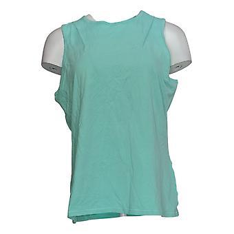 Chiunque donna tank top accogliente gentile jersey maglia maglia girocollo verde A377738
