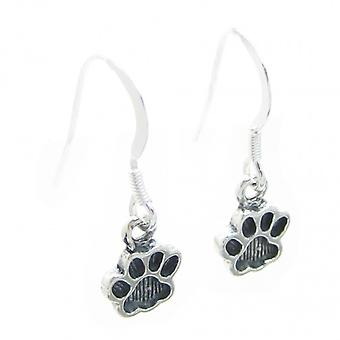 Pawprints Small Sterling Silver Drop Oorbellen .925 X 1 Pair Drops