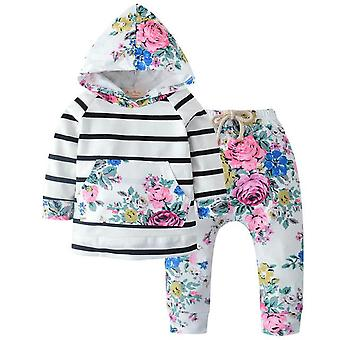 Baby Girls Hooded Tops And Long Pants Outfit Set