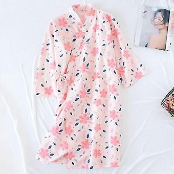 Mujer Kimono Pijama Yukata Estilo Japonés Floral Ropa de Dormir Larga Suelta
