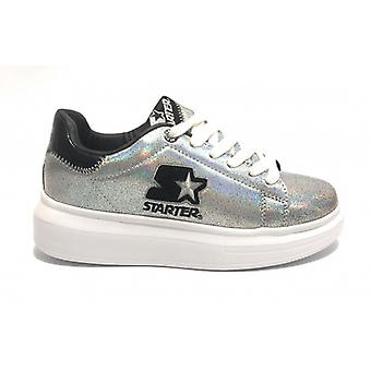Women's Sneaker Starter Wedge Bottom In Ecopelle Color Silver/ Black D20st06