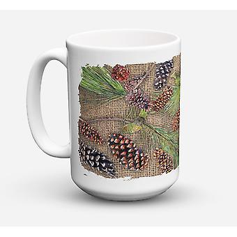 Caroline's Schätze 8735CM15 Kiefer Kegel Geschirrspüler safe Microwavable Keramik Kaffeebecher, 15 Unzen, Multicolor