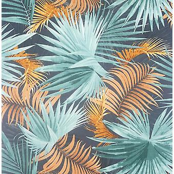 Santa Elena Teal/Orange Wallpaper