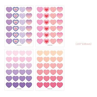 Colored Round Letter Sticker With Love Heart Stickers, Diy Planner Notebook