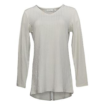 Susan Graver Women's Top Ribbed Sweater Knit Tunic Ivory A367767