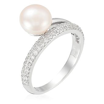 Silver ring 925, zirconium and cultured pearl