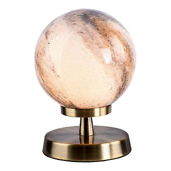 Touch tafellamp antiek messing met planet glas