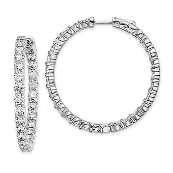 925 Sterling Silver Polished Safety clasp Rhodium Plated With CZ Cubic Zirconia Simulated Diamond Hinged Hoop Earrings M