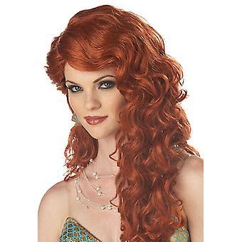 Mermaid Princess Ariel Auburn Long Wavy Women Costume Wig