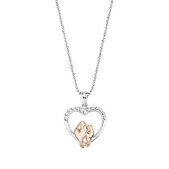 Amor - Naisten kaulakoru sydämenmuotoisella riipuksen kanssa, hopea 925 pinnoitettu ruusukulta, valkoiset zirkonit