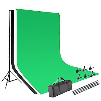 Vamery 1,6 * 3m Netkané tkaniny 2 * 3m Stojan na pozadie Fotografia Video Studio Osvetlenie Kit Čierna
