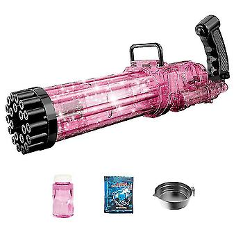 21-hulls elektrisk gatling boble, sommer utendørs leker for gutter jenter (rosa)