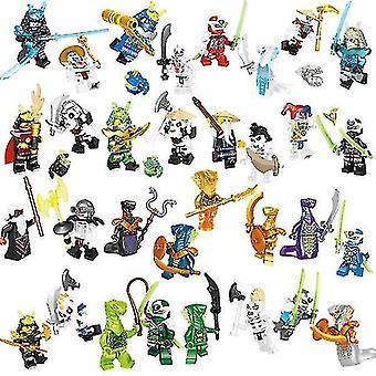 Conjunto de 32 pcs Ninjago Mini Figuras Kai Jay Sensei Wu Master Building Blocks Juguetes