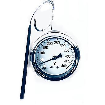 Meat Thermometer 68mm Instant Read, Long Probe Full Steel 0-500℃ Bbq Grill Monitor Cooking Tools