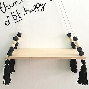 (Black) Kids Bedroom Wall Hanging Wooden Shelf Rope Swing Decor Shelves Storage Durable