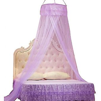 Princess Does Not Need To Install Encrypted Heightening Ceiling Dome Mosquito Net(Purple)