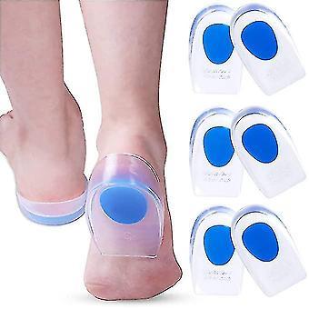 3 Pair Gel Heel Cups Plantar Fasciitis Inserts - Silicone Gel Heel Pads For Heel Pain, Bone Spur