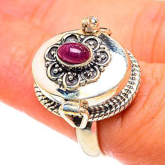 Grande bague de poison rubis taille 7 (argent sterling 925) - Bijoux vintage boho faits à la main RING76210